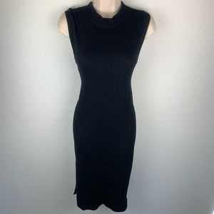 Free People black ribbed stretch body con dress xs